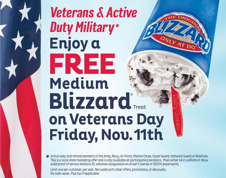 Free Dairy Queen Blizzard for veterans and active duty military- Friday November 11